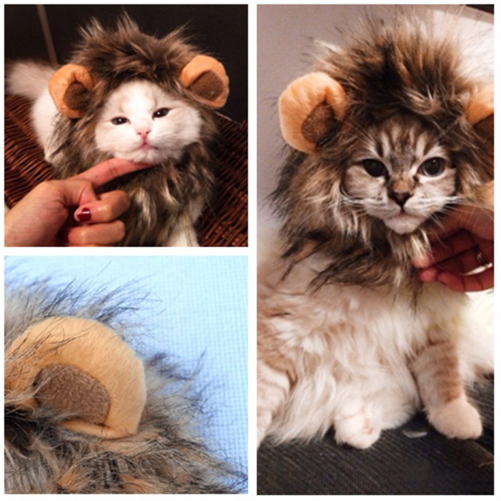 Funny Cute Pet Cat Costume Lion Mane Wig Cap Hat for Cat Dog - Pet Accessories - Pet Store - Pet supplies
