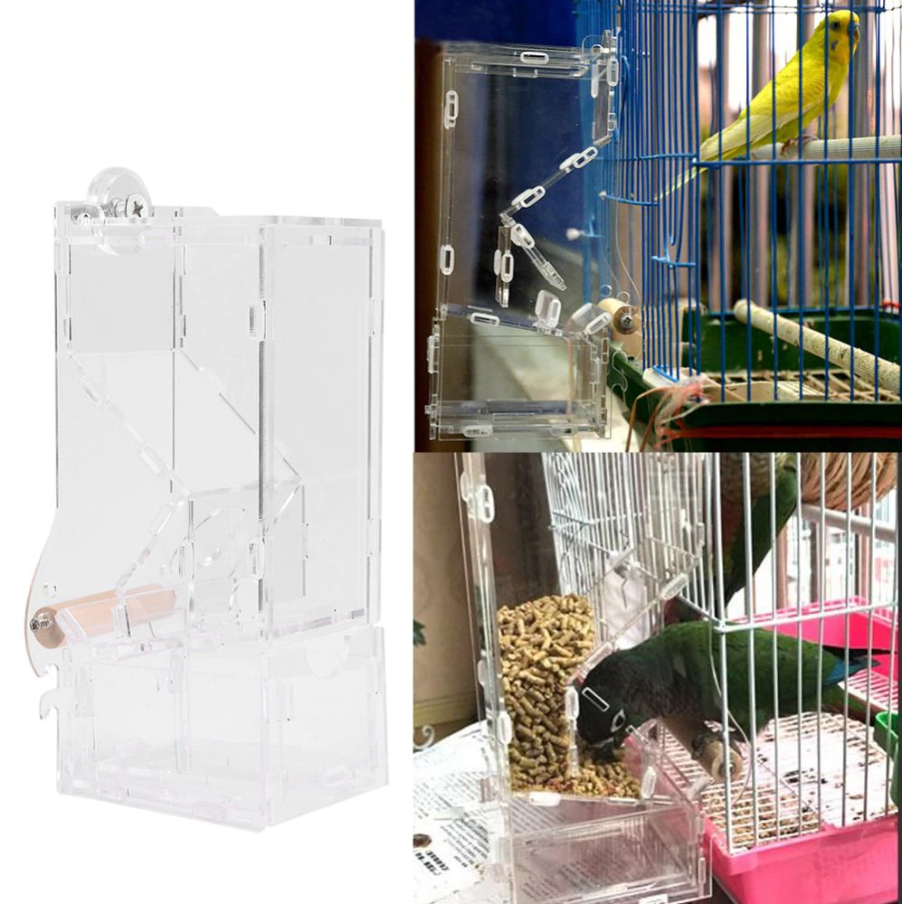 Parrot Lovebird Canary Aviary Transparent Window Outdoor Bird Feeder