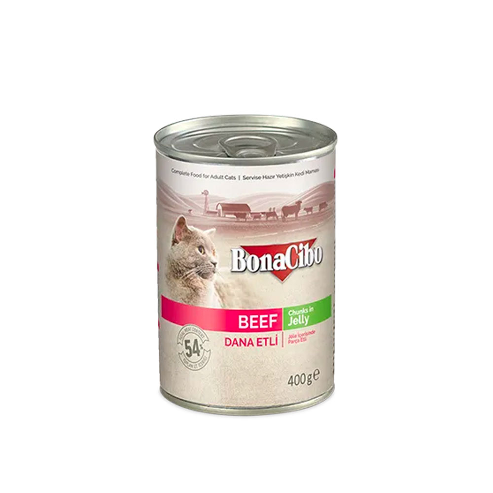 Bonacibo Wet Food for Cats in Can – Beef Chunks in Jelly