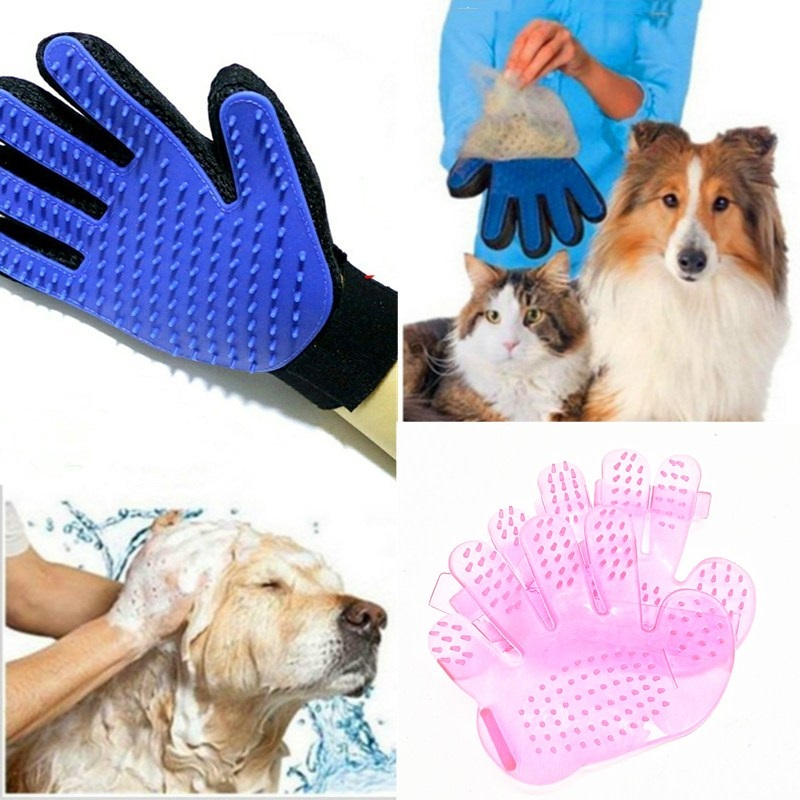 Pink & blue High-quality Dog Accessories Silicone Pet Brush Glove Dog Bath Pet Cleaning Supplies Pet Silicone Glove Dog Combs - Pet Accessories - Pet Store - Pet supplies