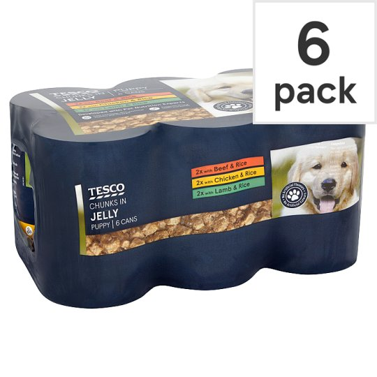 Tesco Chunks In Jelly For Puppy In Chicken / Beef / Lamb / Lamb & Rice / Beef & Rice 400g