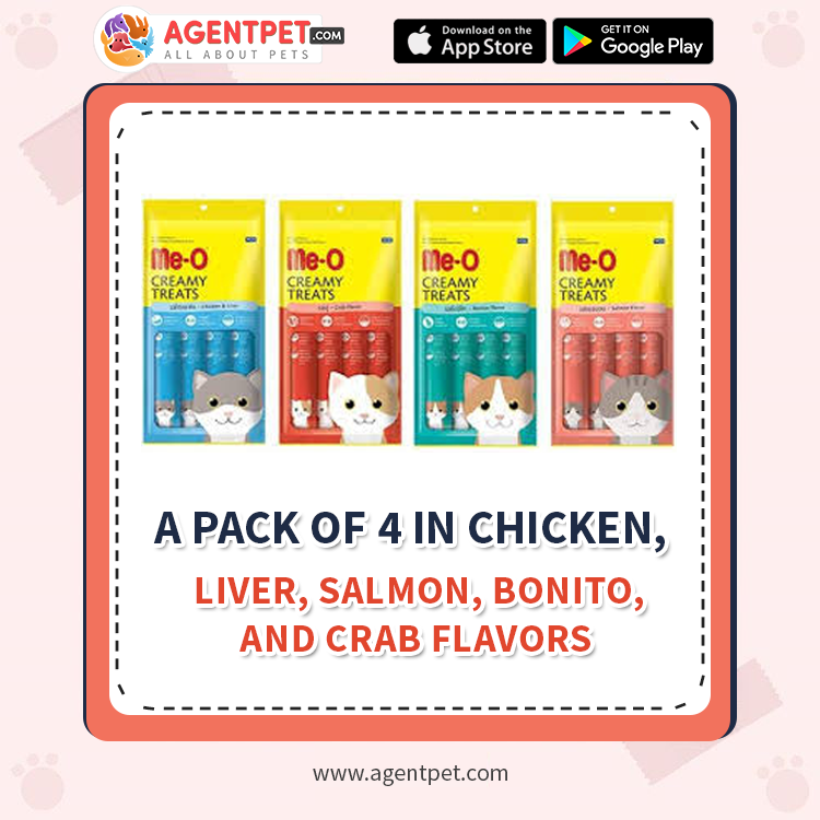 Me-O Creamy Cat Treats Chicken / Liver / Salmon / Bonito / Crab - Pack Of 4 Treats