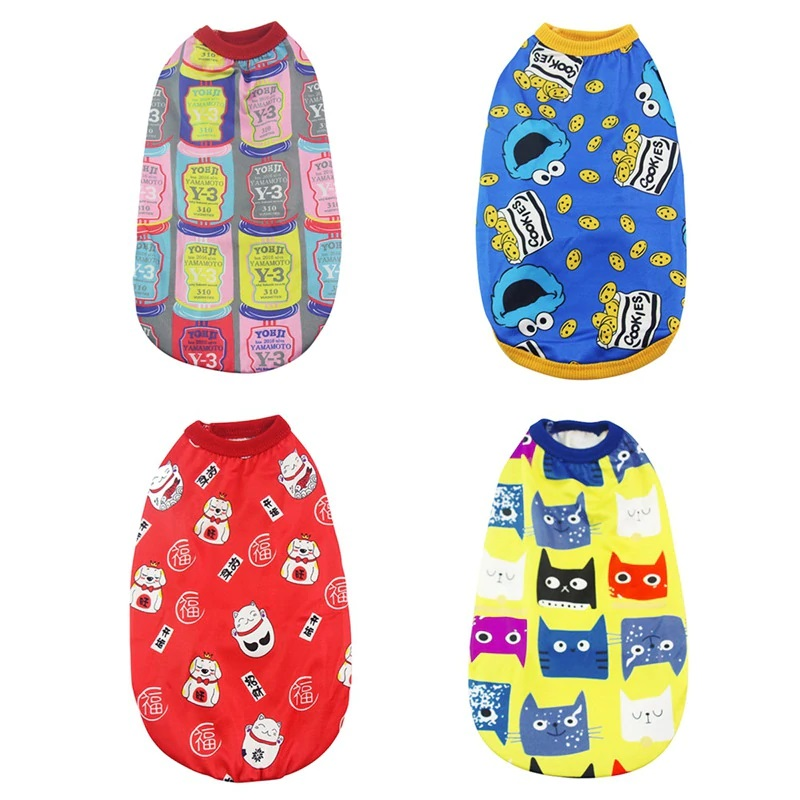Pet Cat Cartoon Clothes for Happy New Year Puppy Vest Shirts Clothes Cute Printed Soft Cotton Vest Tops For Small Cat - Pet Accessories - Pet Store - Pet supplies
