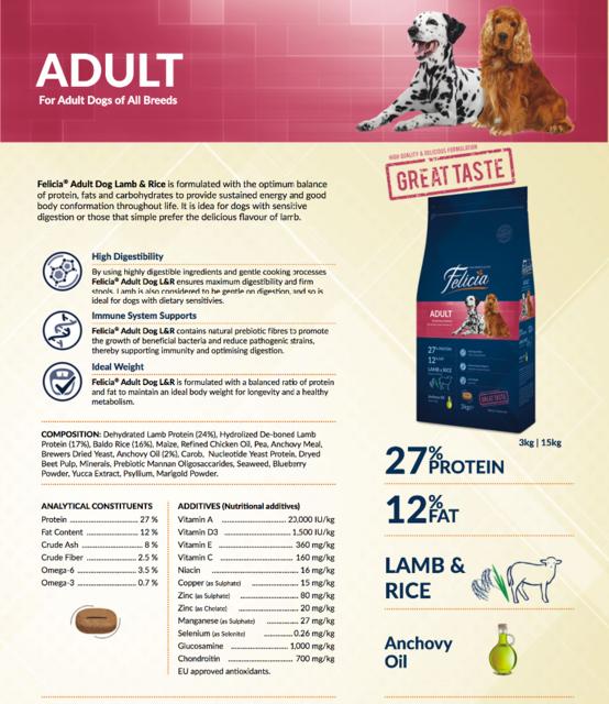 Felicia Adult Dog lamb Rice-15kg - Pet Food - Pet Store - Pet supplies