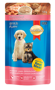 Smartheart Dog Puppy Pouch Beef, Chicken Chunk In Gravy