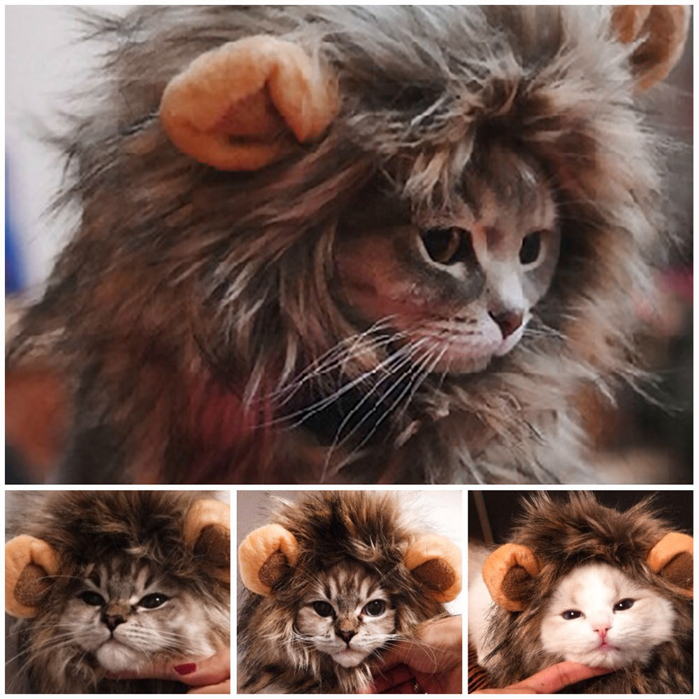 Funny Cute Pet Cat Costume Lion Mane Wig Cap Hat for Cat Dog
