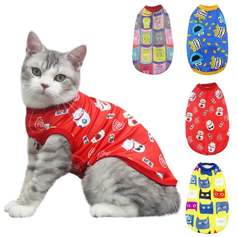Pet Cat Cartoon Clothes for Happy New Year Puppy Vest Shirts Clothes Cute Printed Soft Cotton Vest Tops For Small Cat