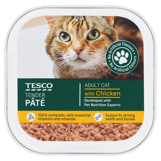 Tesco Tender Pate For Adult Cats / Chicken & Salmon / 100g