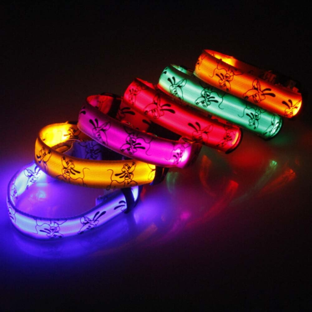 LED Collar Glow Nylon for Dogs Puppy Cats Adjustable Night Luminous
