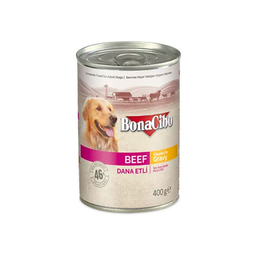 Bonacibo Wet Food for Dogs in Can – BEEF in GRAVY - Pet Food - Pet Store - Pet supplies