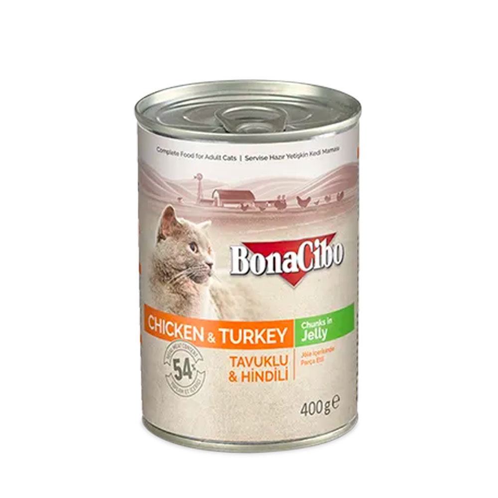 Bonacibo Wet Food for Cats in Can – Chicken n Turkey in Jelly - Pet Food - Pet Store - Pet supplies