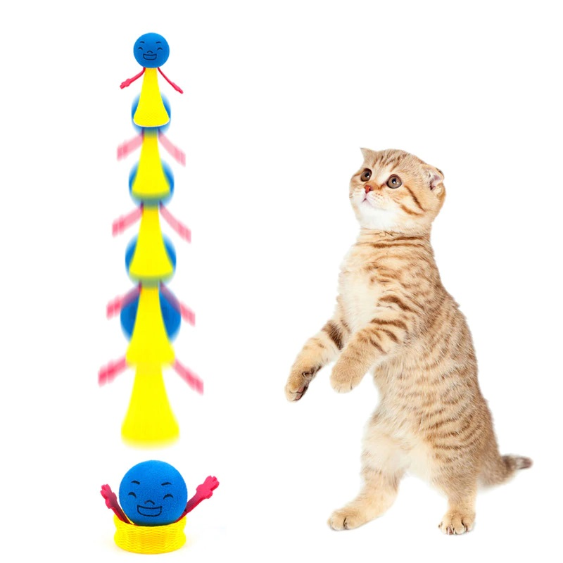 2pcs/set Funny Jumping Cat Toy Pet Cat Bouncing Toy Puppy Kitten Playing Toys Bouncy Balls Toys for Cat Pet Accessories