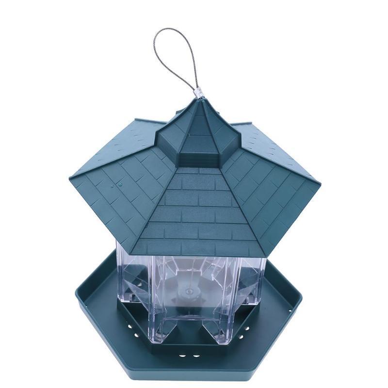 Green Pavilion Bird Feeder Outdoor Plastic Hanging Bird Food Container Garden Decoration Bird Feeder Pet Supplies - Pet Accessories - Pet Store - Pet supplies
