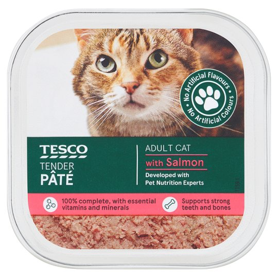 Tesco Tender Pate For Adult Cats / Chicken & Salmon / 100g - Pet Food - Pet Store - Pet supplies