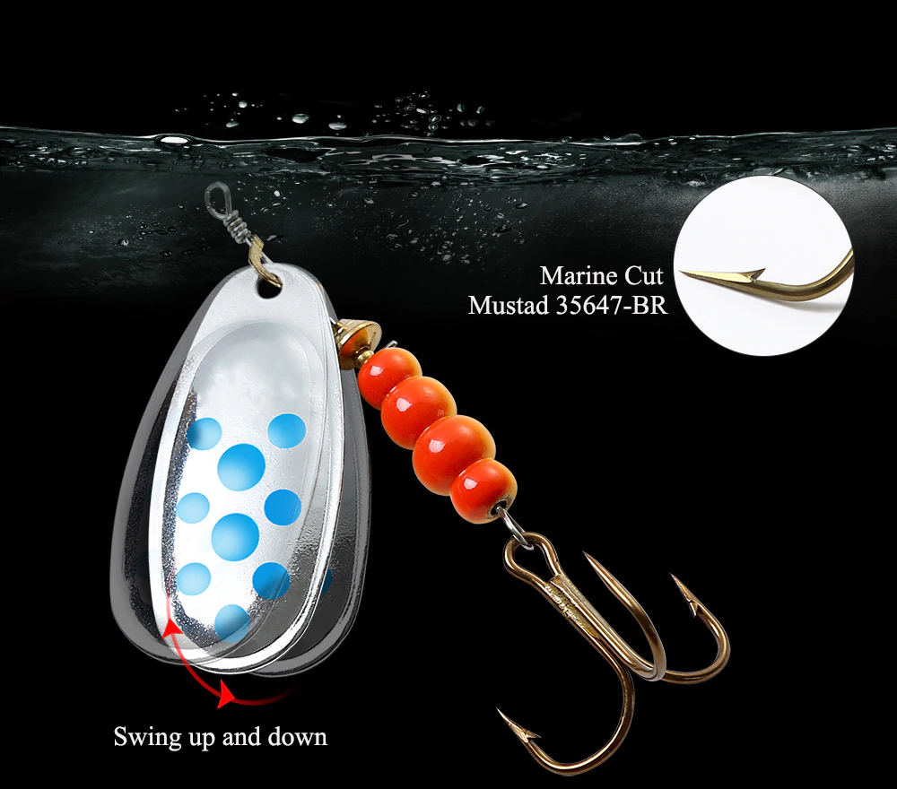 FISH KING 6 Color Spinner Bait With Treble Hooks Artificial Bait Fishing Lure