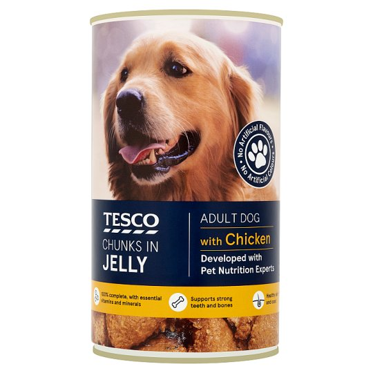 Tesco Chunks In Jelly For Adult Dogs Chicken / Beef / Lamb / Lamb & Rice / Beef & Rice  400g