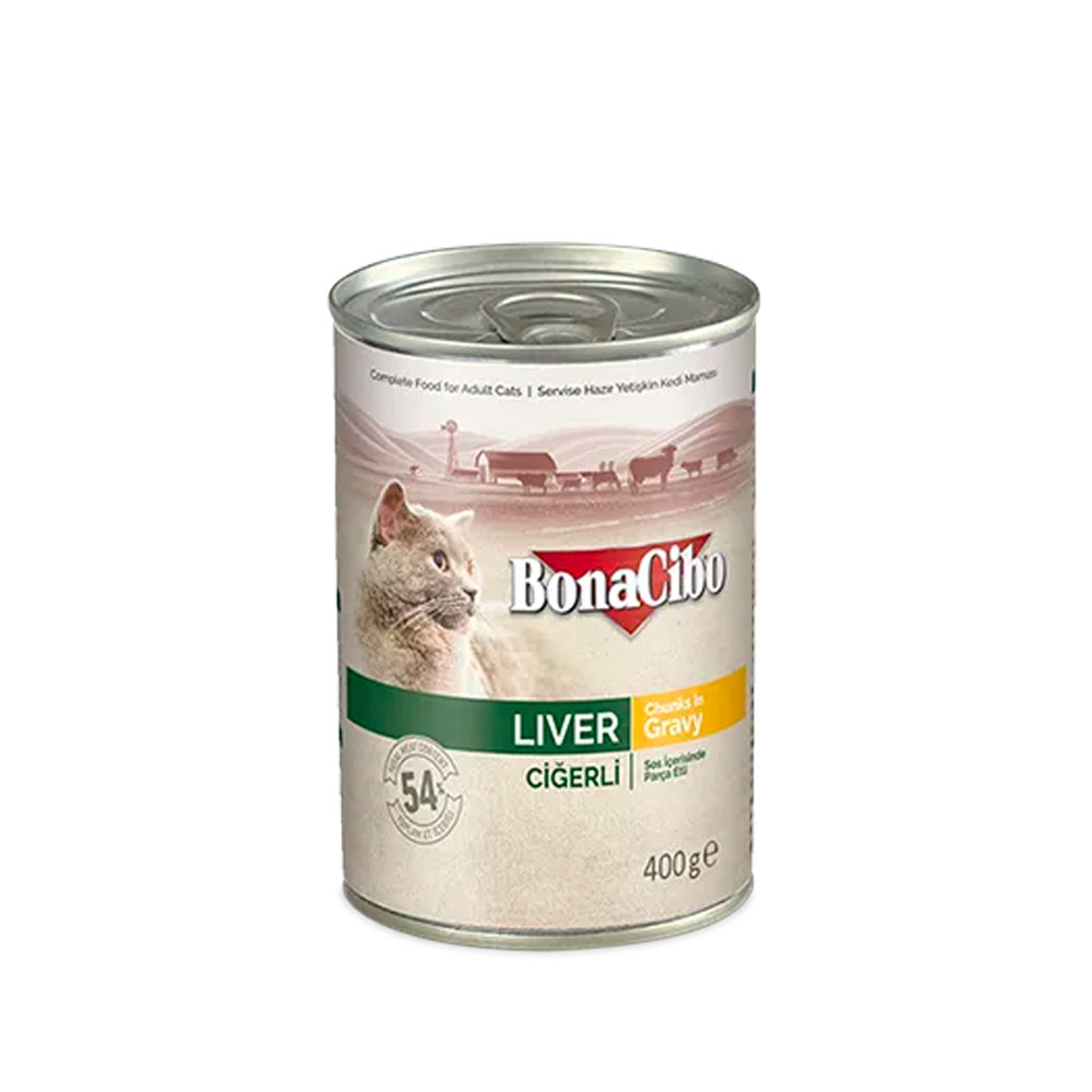 Bonacibo Wet Food for Cats in Can – Liver Chunks in Gravy