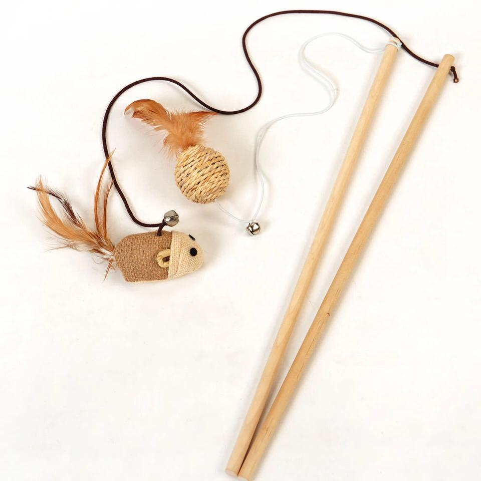 Wooden Stick Mouse Toy For Cats And Kittens
