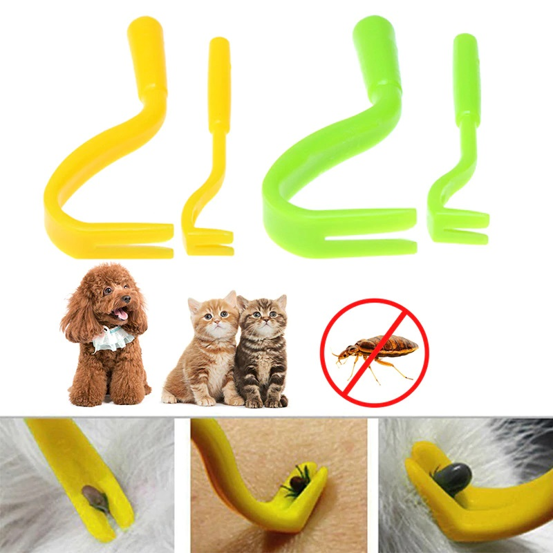 2pcs/set Dog Accessories Pet Cat Tick Remover Hook Twister Tool Human Horse Pet Comb Tools