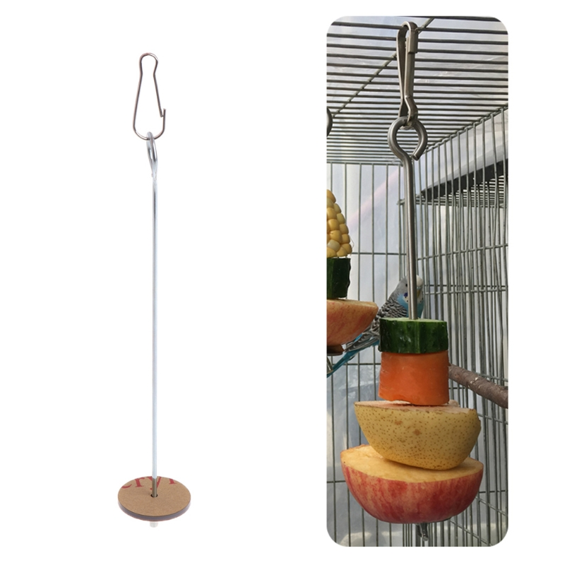 Pet Parrots Birds Food Holder Support Stainless Steel Fruit Spear Stick Meat Skewer Bird Feeding Stick Feeder