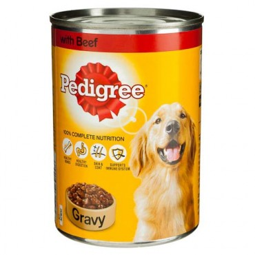 Pedigree Food Tin In Beef Gravy 400g